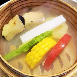 水ナス生ハム巻き・長芋・アスパラ・コーン・トマト・さつま芋の冷製