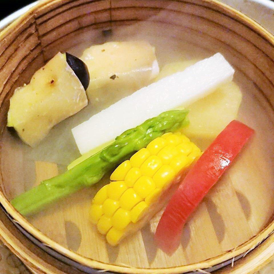 水ナス生ハム巻き・長芋・アスパラ・コーン・トマト・さつま芋の冷製サラダ