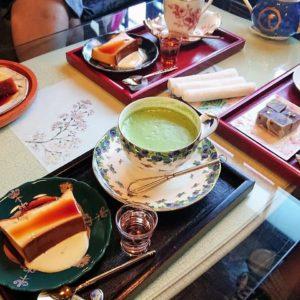 「旧茶屋亭」のお抹茶セット、手造りプリン