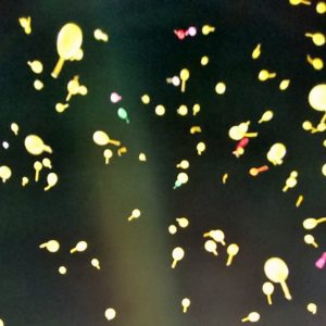 甲子園球場夜空の風船